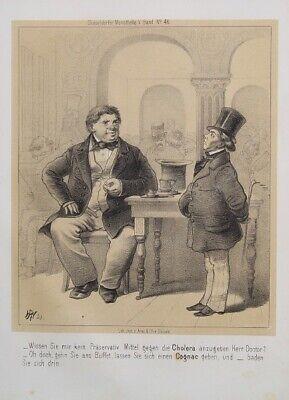 Medizinische Zylinder (Arzt Doktor Medizin Cholera Cognac Bad Zwerg Cafe Zylinder Gehrock Karikatur )