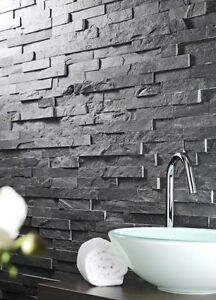 "Decorative Slate Stone Charcoal 5.9""x23.6"" (15x60cm) $4.40/sqft"
