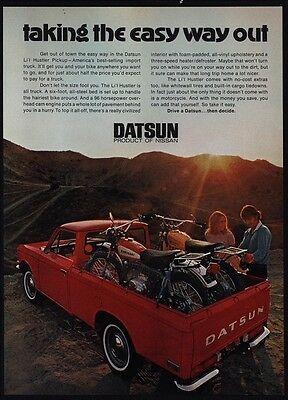1971 DATSUN Lil Hustler Red Pickup Truck - Kawasaki Motorcycles - VINTAGE AD