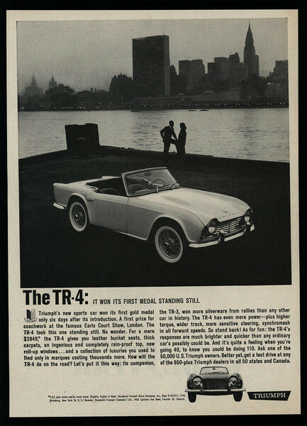 1962 TRIUMPH TR-4 Convertible Sports Car - EMPIRE STATE BUILDING - VINTAGE AD