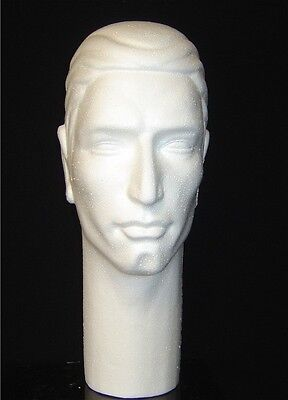 16h 6264x Male Mannequin Head-white Sb2025cc Display Support Base-black