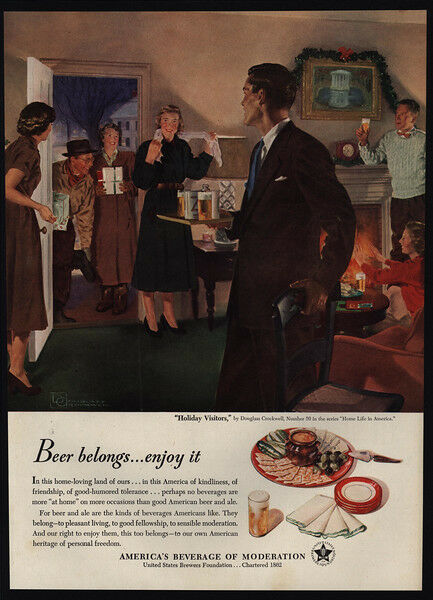 1950 DOUGLAS CROCKWELL Art - Christmas Holiday Visitors Drink Beer - VINTAGE AD