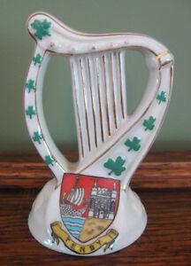Carlton Crested Heraldic Ware Irish Harp Shamrock Tenby Wales
