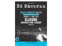Ed Sheeran 8th June 2018 GLASGOW concert tickets