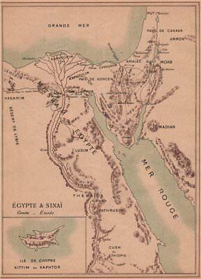 BIBLICAL EGYPT. Egypt & Sinaï Sinai. Cyprus Chypre Kittim Kaphtor 1887 old map