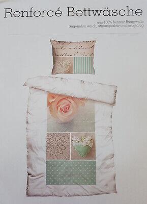 Bettwäsche 4 tlg. Renforce Cotton Landhaus weiß/ grün/ beige 140x200 + 70x90