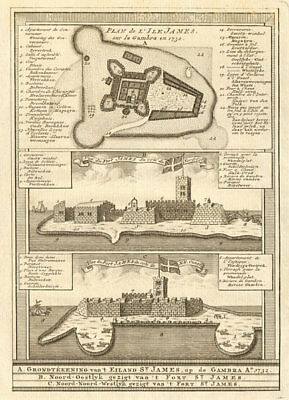 Fort James, Kunta Kinteh Island, Gambia River. Gambra. BELLIN/SCHLEY 1747 map