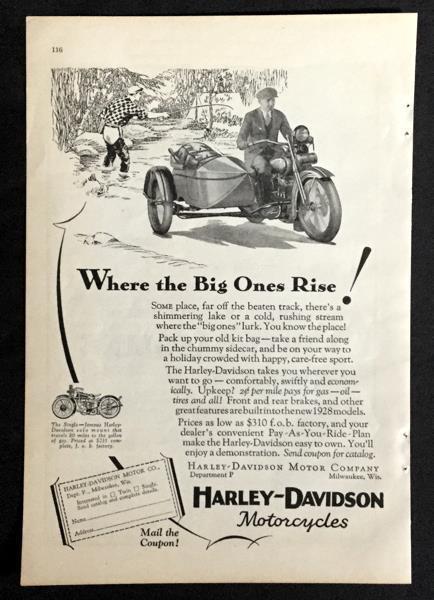 1928 Harley Davidson *Where the Big Ones Rise!* original vintage Motorcycle AD