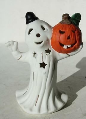 Ghost Figurine Holding Pumpkin Black Hat Ceramic-Porcelain Tea Light Holder-#2