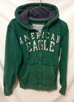Mens Dark Green American Eagle Zip Up Hoodie - Size Small