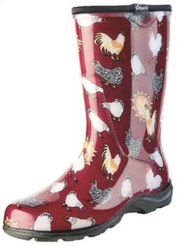 Sloggers Women's Rain and Garden Chicken Print Collection Garden Boots, Size 9, Barn Red 5016CBR09