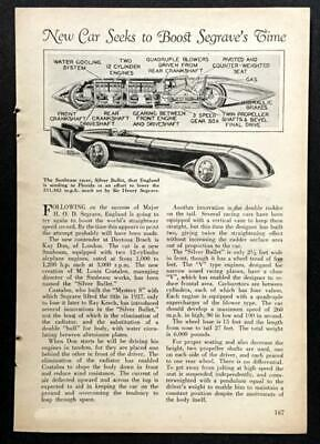 Sunbeam Silver Bullet Land Speed Racer 1930 pictorial Kaye Don Daytona Beach