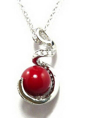 Red Coral Color Shell Pearl White Gold Plated Crystal S Snake Pendant & Necklace Coral Snake Pendant