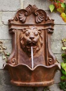 Wall Mounted Water Feature Drinking Fountain Lion Head Rust Finish Effect  Garden