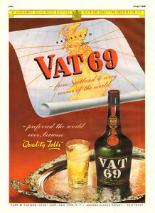 1948 full-page (10 ¼ x 13 ¼ ) magazine ad for Vat 69 Whiskey