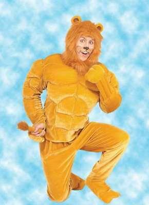 Macho Lion Costume (Lion Costume Adult 4 Pc Gold Velour & Faux Fur Muscle Chest Macho Lion)