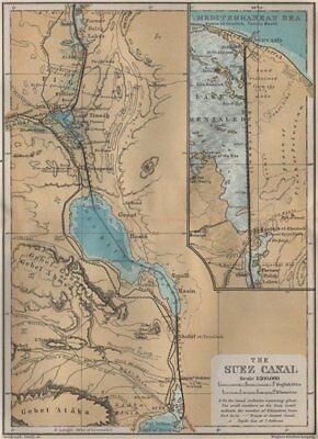THE SUEZ CANAL. Port said. Topo-map. Egypt. BAEDEKER 1914 old antique