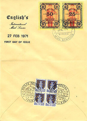 1971 STRIKE MAIL ENGLISH'S INTERNATIONAL MAIL SERVICE 25p & 50p FIRST DAY COVERb
