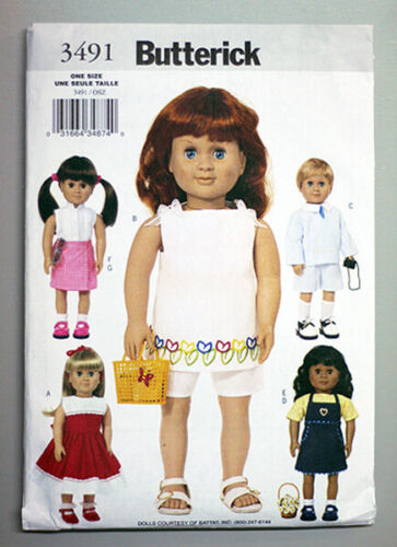 """BUTTERICK 3491 PATTERN - American made - for 18"""" girl dolls - NEW!- Uncut!"""