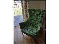 Ikea Stockholm High Back Chair Green/Brown LIKE NEW