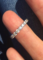 18KT white gold-diamond ladies eternity band - size 6