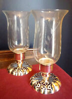 4U2C PAIR OF ETCHED GLASS HURRICANE STYLE CANDLE HOLDERS