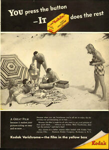Large authentic 1946 magazine ad for Kodak Verichrome Film