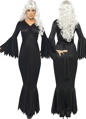 Womens Long Black Vampire Dress Midnight Vamp Fancy Jagged Cut Halloween Adult - Vampires Costumes Halloween