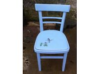Little painted chair with painted vinyl seat and bird design