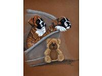 Original pastel drawing of boxer puppies