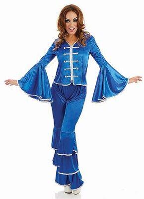 Damen Blau Dancing Queen 1970s 70er Jahre Kostüm Kleid Outfit 8-26 - Übergröße Queen Kostüm