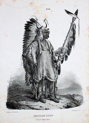 Karl Bodmer Mandan Indianer Dakota Natives Häuptling Sioux Missouri Speer Pelz