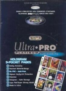 ULTRA-PRO Platinum SHEETS (9-pocket/box of 100) for hockey cards
