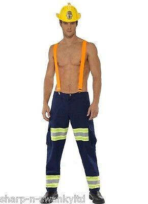Da Uomo Sexy Pompiere Pompiere Servizi di Emergenza Costume Vestito M