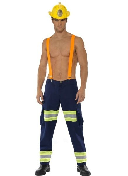 afe75b384e1 Mens Sexy Fireman Firefighter Emergency Services Fancy Dress Costume Outfit  M