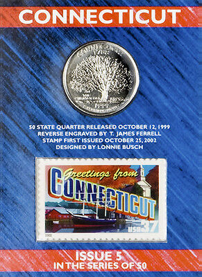 USPS CONNECTICUT STATE QUARTER AND STAMP SET