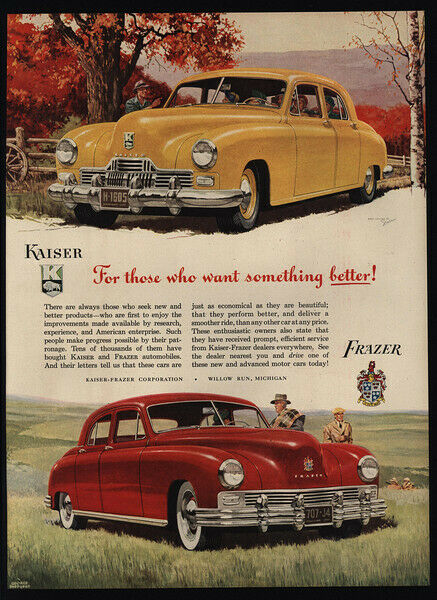 1947 Yellow KAISER & Red FRAZER Cars - Hunters - Art -  VINTAGE AD