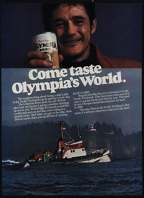 1978 OLYMPIA BEER Columbia River Pilot Boat Captain Pacific Northwest VINTAGE AD