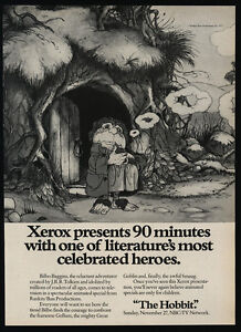 1977-THE-HOBBIT-J-R-R-TOLKIEN-Art-Television-Show-Xerox-VINTAGE-AD