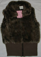 Size XS & Small Girls Brown Faux Fur Vests - NEW