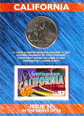 USPS CALIFORNIA STATE QUARTER AND STAMP SET