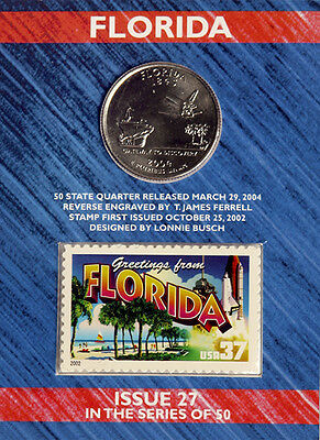 USPS FLORIDA STATE QUARTER AND STAMP SET