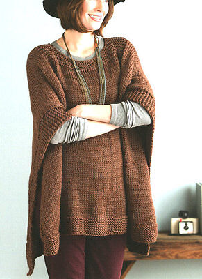 Easy Beginner Womans Poncho One Size Chunky Wool -  Knitting Pattern
