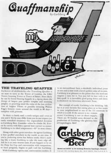 Vintage 1961 Carlsberg Beer Original Print Ad