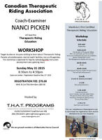 WORKSHOP MAY 31ST- CANADIAN THERAPEUTIC RIDING ASSOCIATION