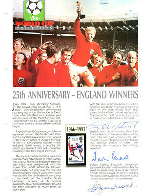 1966 ENGLAND WORLD CUP SIGNED SHEET BOBBY MOORE GEOFF HURST & MARTIN PETERS