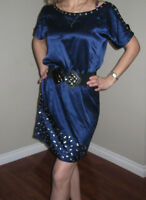 CACHE Blue Mid Length Cocktail party SILK Dress Sz S Hot & Sexy