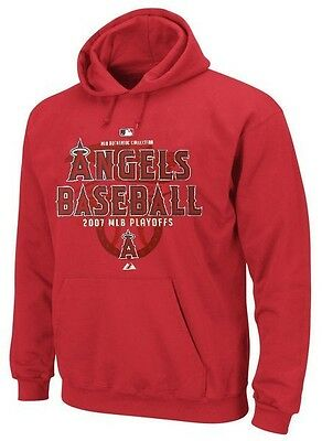 Los Angeles Angels Mlb Majestic Mens 2007 Playoff Hoodie Red Adult Sizes