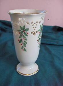 Vintage Lenox China Holiday Pierced Vase Holiday Mint