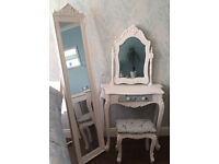 Beautiful Birds French Shabby Chic White Dressing Table, Stool & Free Standing Mirror Bedroom